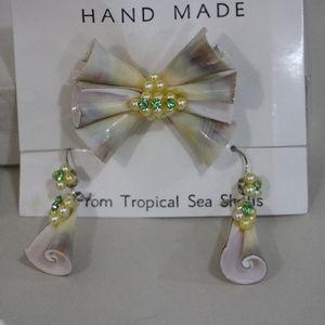 Handmade Jewelry - VintageShell Pink Earrings Pin Jewelry Lot